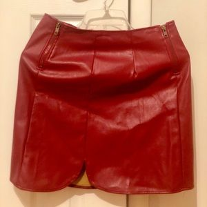 NWOT‼️SEXY LEATHER RED SKIRT♥️